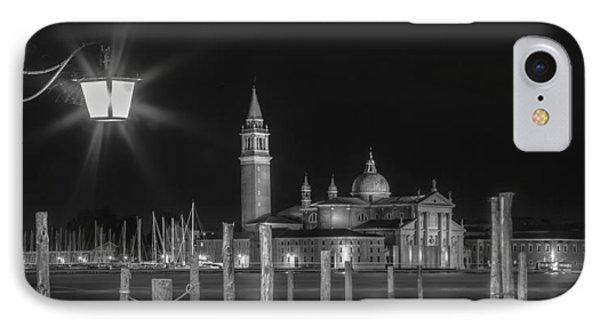 Venice San Giorgio Maggiore At Night Black And White Panoramic View IPhone Case