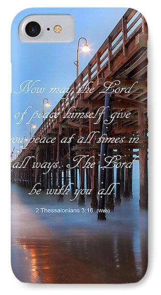 Ventura Ca Pier With Bible Verse IPhone Case by John A Rodriguez