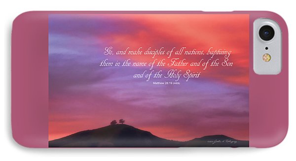 Ventura Ca Two Trees At Sunset With Bible Verse IPhone Case by John A Rodriguez