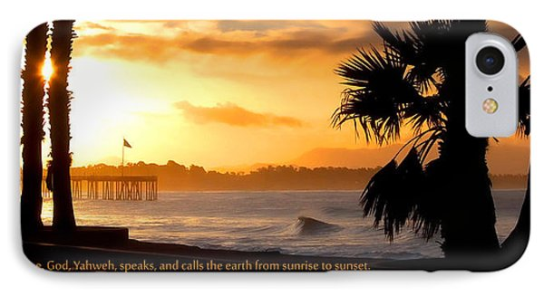 IPhone Case featuring the photograph Ventura California Sunrise With Bible Verse by John A Rodriguez