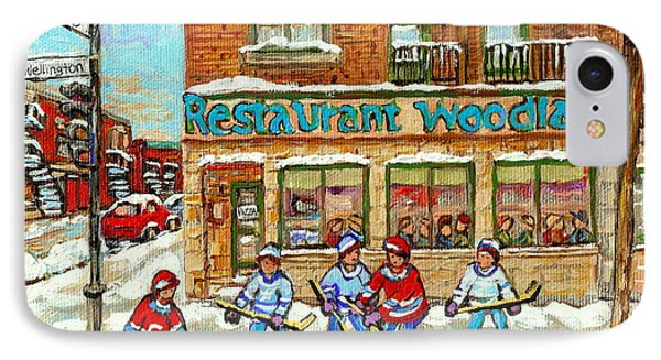 Verdun Pizza Restaurant Woodland Pizza Montreal Winter Scene Hockey Art Painting Carole Spandau      IPhone Case by Carole Spandau