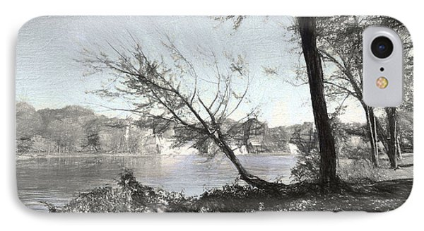 Vergennes Falls Digital Charcoal IPhone Case by Rena Trepanier