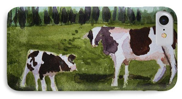 IPhone Case featuring the painting Vermont Cow And Calf by Donna Walsh