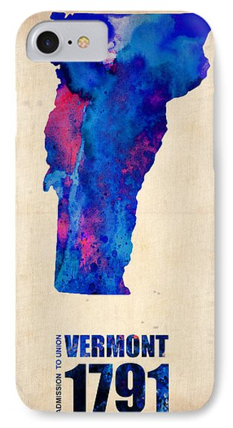 Vermont Watercolor Map IPhone Case