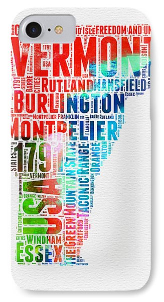 Vermont Watercolor Word Cloud  IPhone Case
