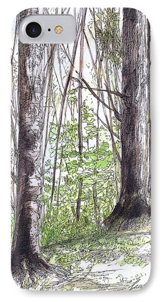 IPhone Case featuring the painting Vermont Woods by Laurie Rohner