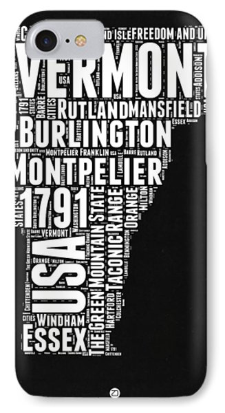 Vermont Word Cloud Black And White Map IPhone Case