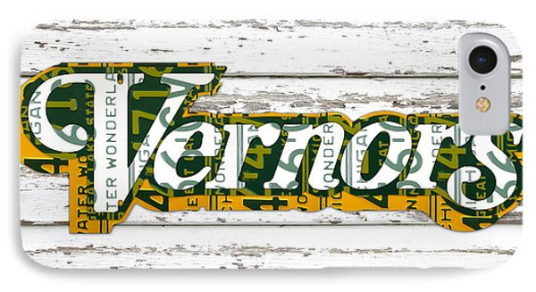 Vernors Beverage Company Recycled Michigan License Plate Art On Old White Barn Wood IPhone Case by Design Turnpike
