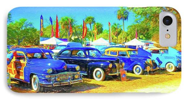 Vero Beach Car Show In Pencil IPhone Case by Charles Haaland