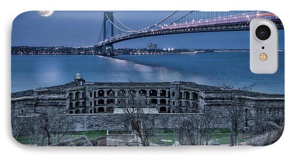 IPhone Case featuring the photograph Verrazano Narrows Bridge Full Moon by Susan Candelario