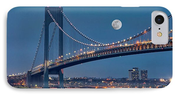 IPhone Case featuring the photograph Verrazano Narrows Bridge Moon by Susan Candelario