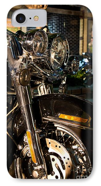 IPhone Case featuring the photograph Vertical Front View Of Fat Cruiser Motorcycle With Chrome Fork A by Jason Rosette
