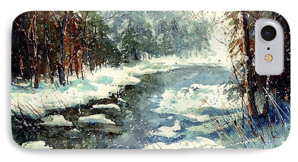 Sparrow iPhone 7 Case - Very Cold Winter Watercolor by Suzann's Art