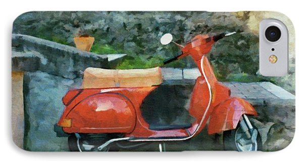 IPhone Case featuring the painting Vespa Parked by Jeff Kolker