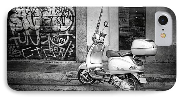 IPhone Case featuring the photograph Vespa Scooter In Milan Italy In Black And White  by Carol Japp