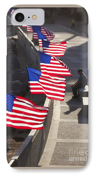 Veteran With United States Flags IPhone Case by John A Rodriguez