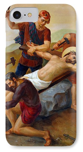 IPhone Case featuring the painting Via Dolorosa - Jesus Is Nailed To The Cross - 11 by Svitozar Nenyuk