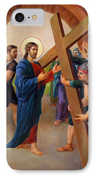 IPhone Case featuring the painting Via Dolorosa - Jesus Takes Up His Cross - 2 by Svitozar Nenyuk