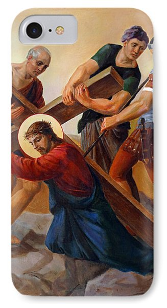 IPhone Case featuring the painting Via Dolorosa - Stations Of The Cross - 3 by Svitozar Nenyuk