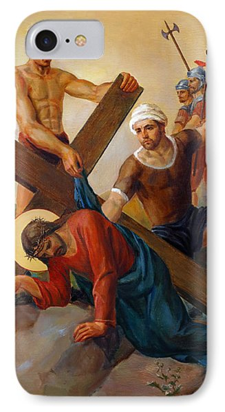 IPhone Case featuring the painting Via Dolorosa - The Second Fall Of Jesus - 7 by Svitozar Nenyuk