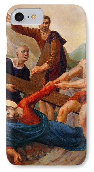 IPhone Case featuring the painting Via Dolorosa - Way Of The Cross - 9 by Svitozar Nenyuk