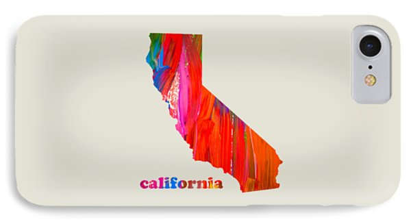 Vibrant Colorful California State Map Painting IPhone Case by Design Turnpike