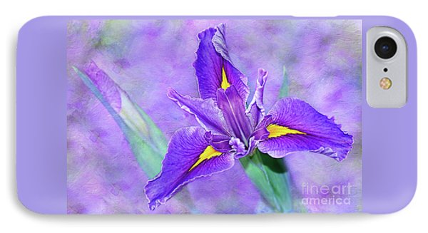 IPhone Case featuring the photograph Vibrant Iris On Purple Bokeh By Kaye Menner by Kaye Menner
