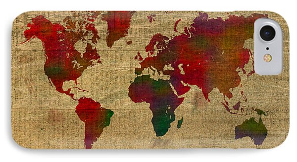 Vibrant Map Of The World In Watercolor On Old Sheet Music And Newsprint IPhone Case