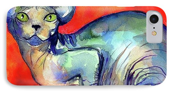 Vibrant Watercolor Sphynx Painting By IPhone Case
