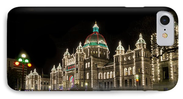 Victoria Parliament Buildings At Night At Christmas IPhone Case