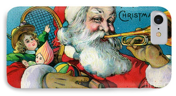 Victorian Illustration Of Santa Claus Holding Toys And Blowing On A Trumpet IPhone Case by American School