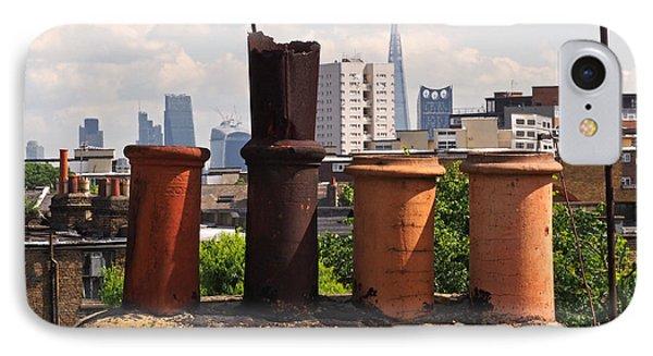 London Skyline iPhone 7 Case - Victorian London Chimney Pots by Rona Black