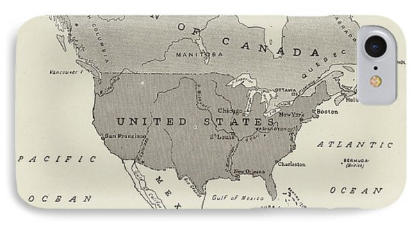 Victorian Map Of North America Showing Territory Owned By The United States And By Great Britain  IPhone Case by English School