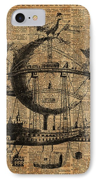 Victorian Steampunk Flying Machine IPhone Case by Jacob Kuch