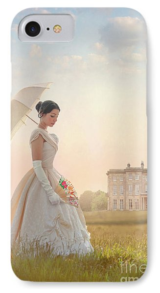 Victorian Woman With Parasol And Fan IPhone Case