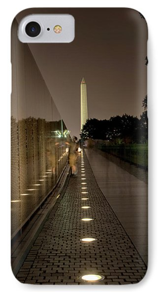 IPhone Case featuring the photograph Vietnam Veterans Memorial At Night by Chrystal Mimbs