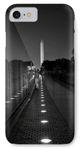 IPhone Case featuring the photograph Vietnam Veterans Memorial At Night In Black And White by Chrystal Mimbs