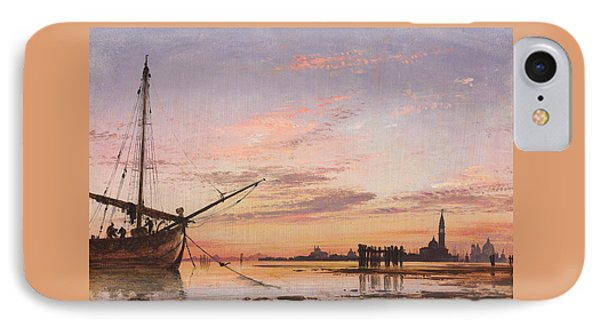 View Across The Lagoon, Venice, Sunset IPhone Case by Edward William Cooke