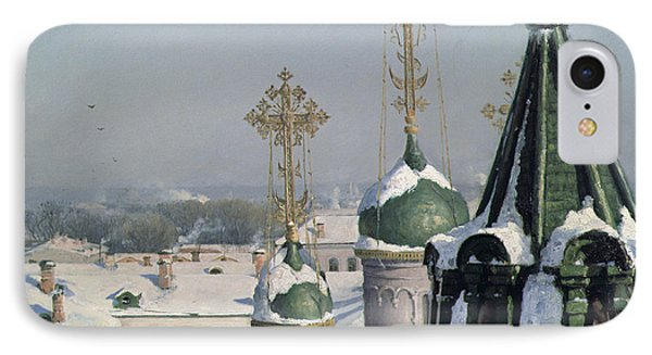 View From A Window Of The Moscow School Of Painting IPhone Case by Sergei Ivanovich Svetoslavsky