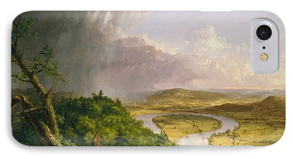 IPhone Case featuring the painting View From Mount Holyoke Northampton Massachusetts After A Thunderstorm. The Oxbow by Thomas Cole