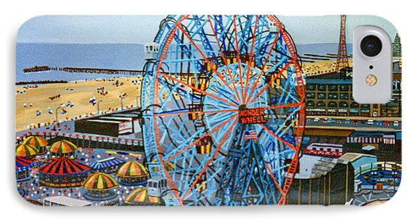 View From The Top Of The Cyclone Rollercoaster IPhone Case by Bonnie Siracusa