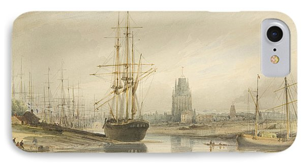 View Looking Up The River, Taken From Below The Rope Walk And Wapping IPhone Case by Thomas Leeson the Elder Rowbotham