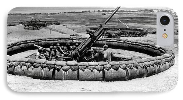 View Of A 90mm Aaa Gun Emplacement Phone Case by Stocktrek Images