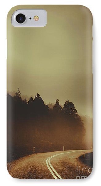 View Of Abandoned Country Road In Foggy Forest IPhone Case by Jorgo Photography - Wall Art Gallery