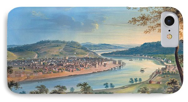 IPhone Case featuring the painting View Of Cincinnati From Covington by John Caspar Wild