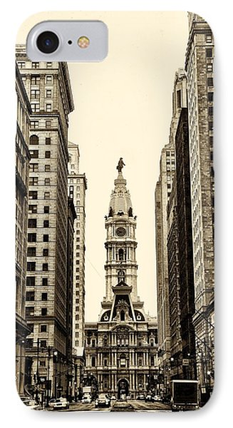 View Of Cityhall From Broad Street In Philadelphia Phone Case by Bill Cannon