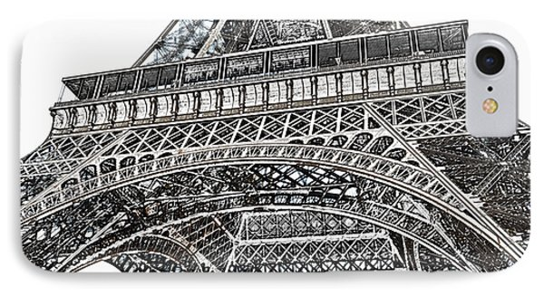 View Of Eiffel Tower First Floor Deck Paris France Colored Pencil Digital Art IPhone Case by Shawn O'Brien