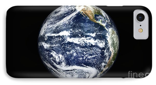 View Of Full Earth Centered IPhone Case by Stocktrek Images