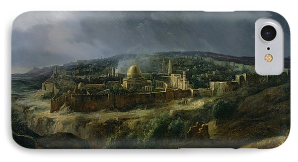 View Of Jerusalem From The Valley Of Jehoshaphat IPhone Case by Auguste Forbin
