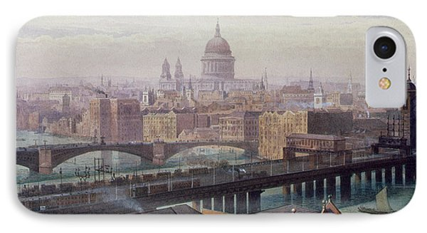 View Of London Showing St Paul's And Canon Street Station From Southwark Bridge IPhone Case by John Crowther